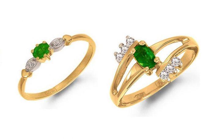 кольцо с природным изумрудом
