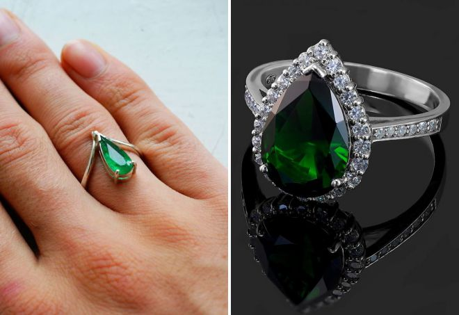 кольцо с изумрудом капля