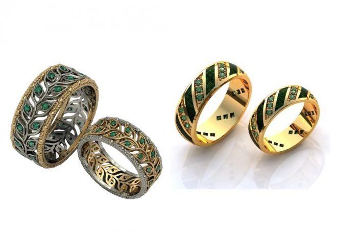 обручальное кольцо с изумрудами для женщин