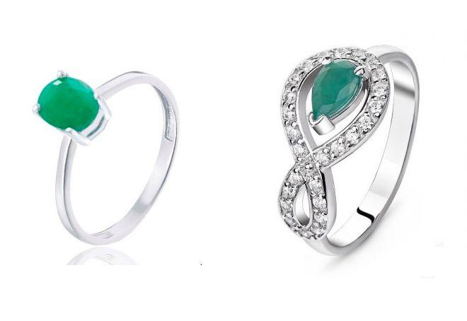 кольцо с зеленым изумрудом
