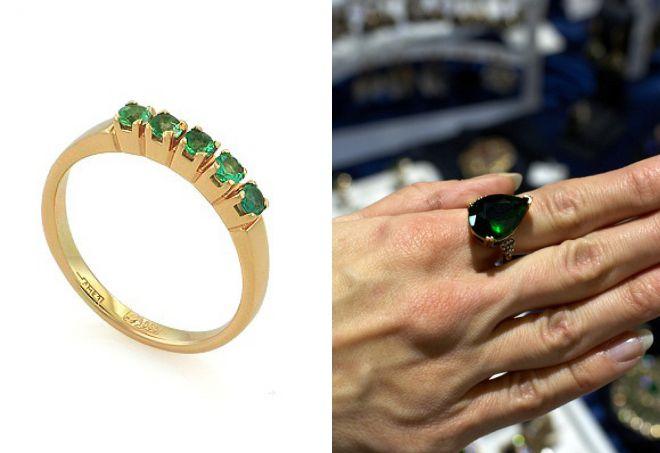 женские кольца с изумрудом
