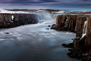 Водопад Сельфосс - вечером