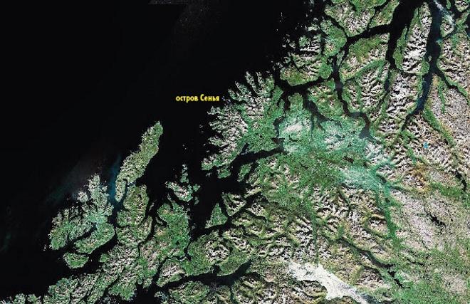 Остров Сенья на карте