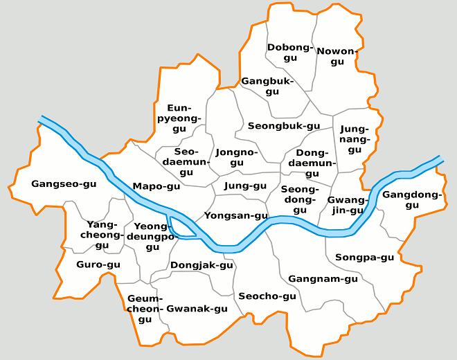 Районы Сеула на карте
