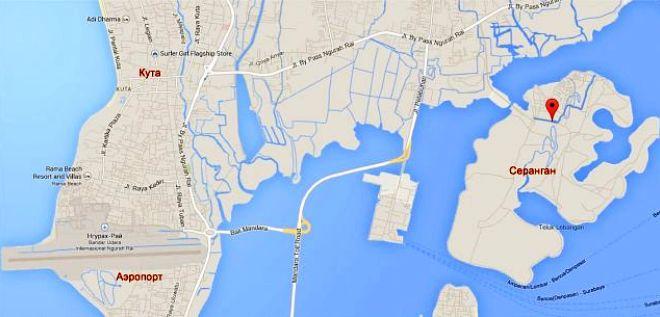 Остров Серенган на карте