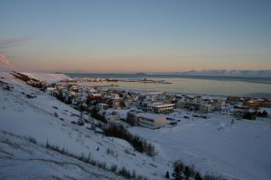 Вид на зимний Сейдауркроукюр