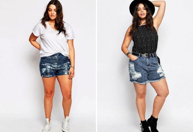 джинсовые шорты для полных девушек