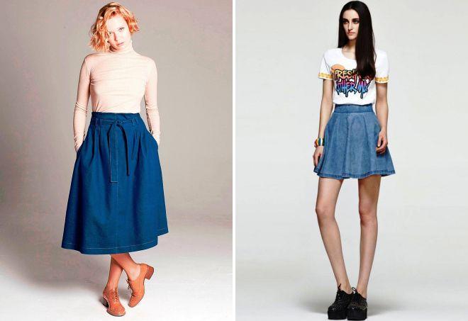 джинсовая юбка колокол