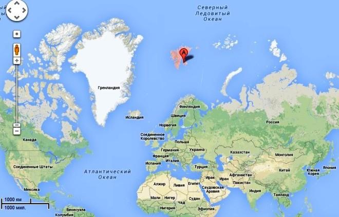 Остров Шпицберген на карте мира