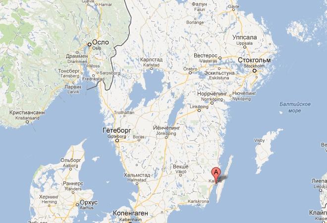 Город Кальмар на карте Швеции
