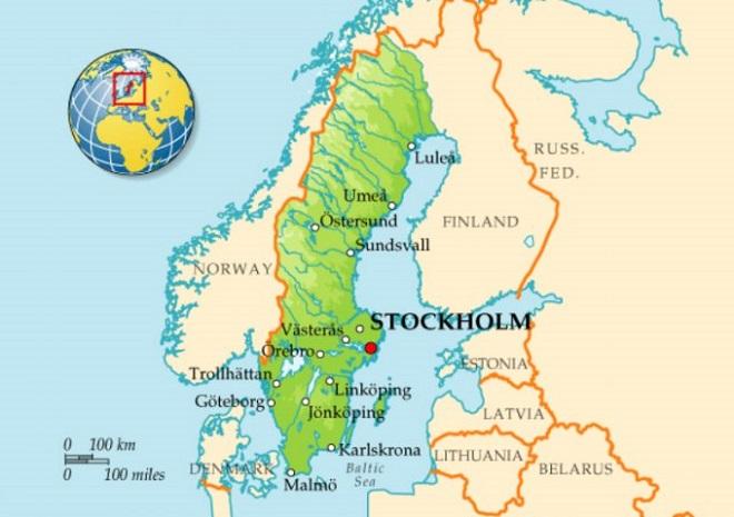 Стокгольм на карте Европы