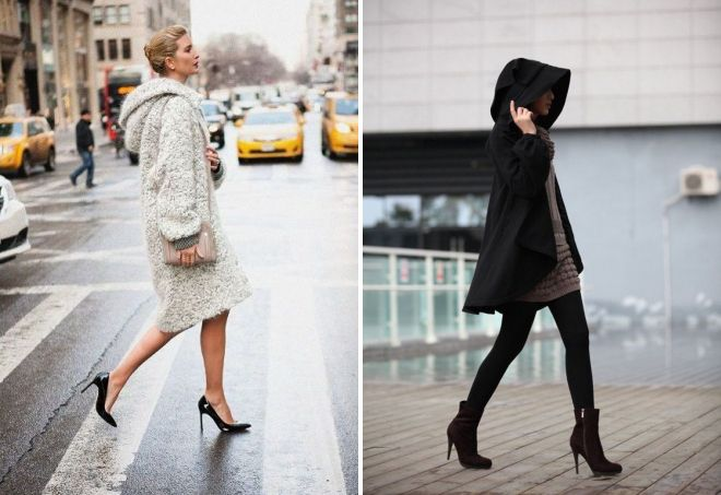 eleganten ženski plašč s kapuco