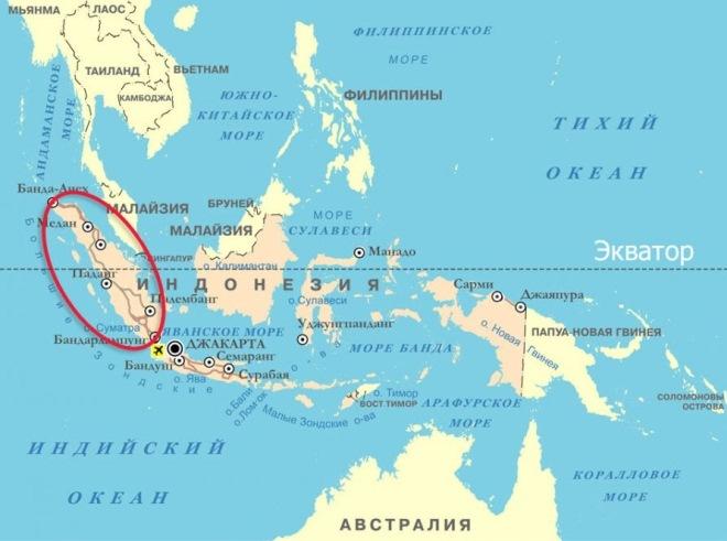 Остров Суматра на карте мира