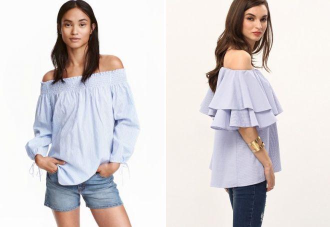 летние блузки с открытыми плечами