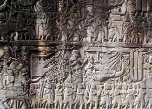 Деяния короля Джаявармана VII в барельефе храма