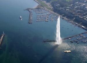 Женевский фонтан с высоты птичьего полета