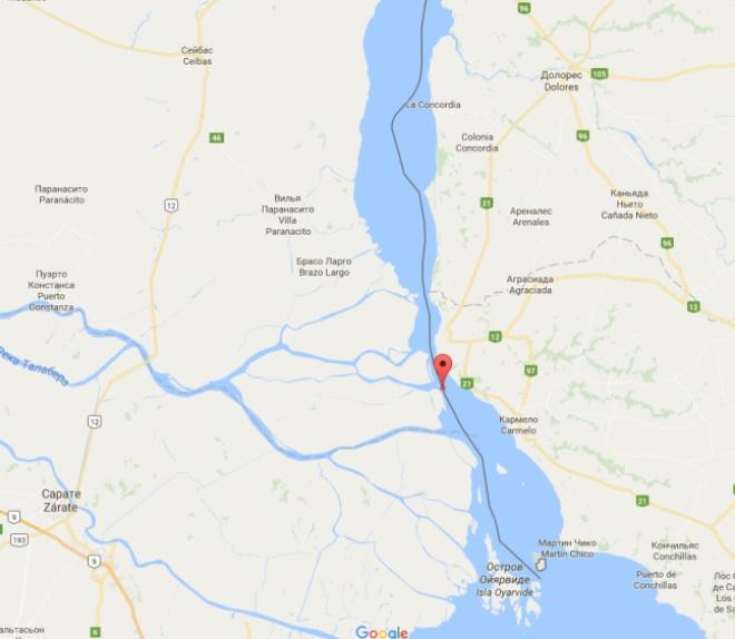 Река Уругвай на карте
