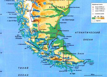 Огненная Земля на карте Южной Америки