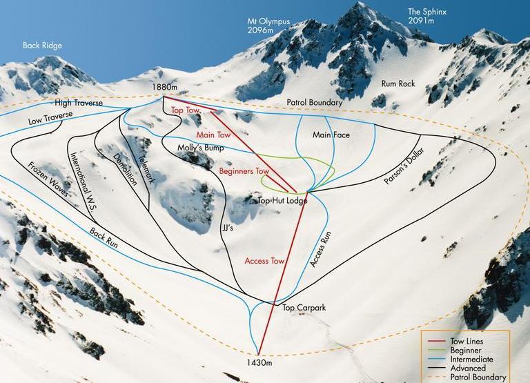 Схема трасс на горнолыжном курорте