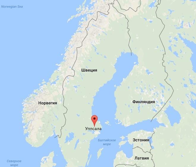 Город на карте Швеции