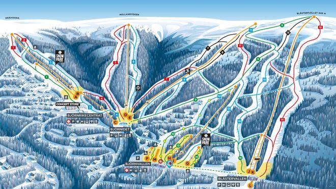 Схема горнолыжных трасс на курорте Вемдален