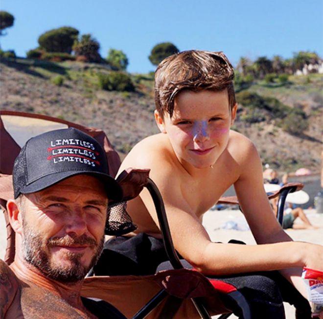 Дэвид Бекхэм с сыном Крузом