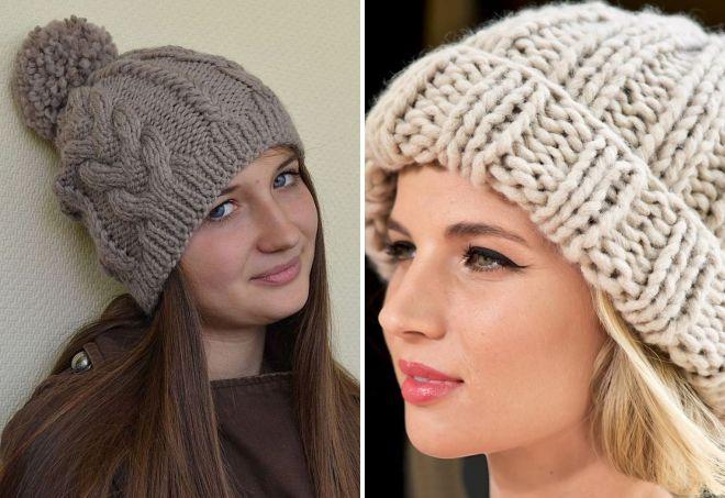 женские объемные вязаные шапки