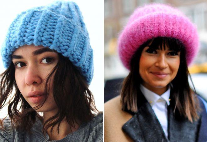 объемная шапка с отворотом