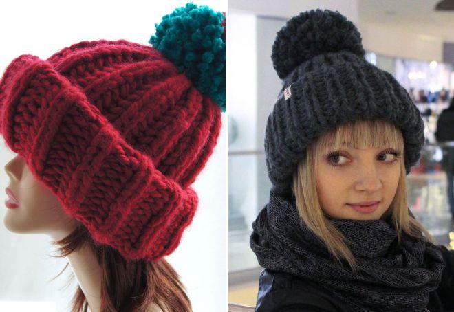женская объемная шапка с отворотом