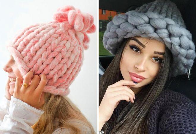 объемные шапки крупной вязки