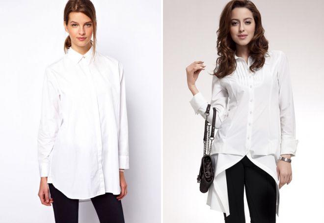 длинная белая блузка
