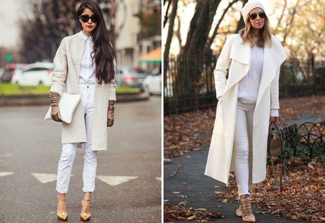 лук с белым пальто