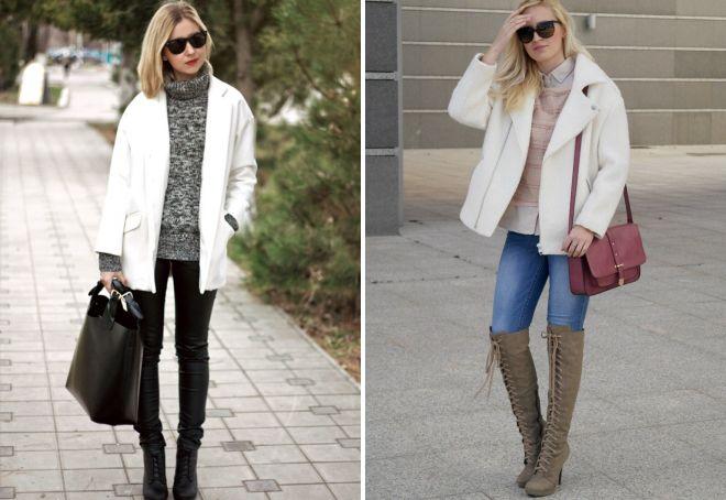 с чем носить белое короткое пальто
