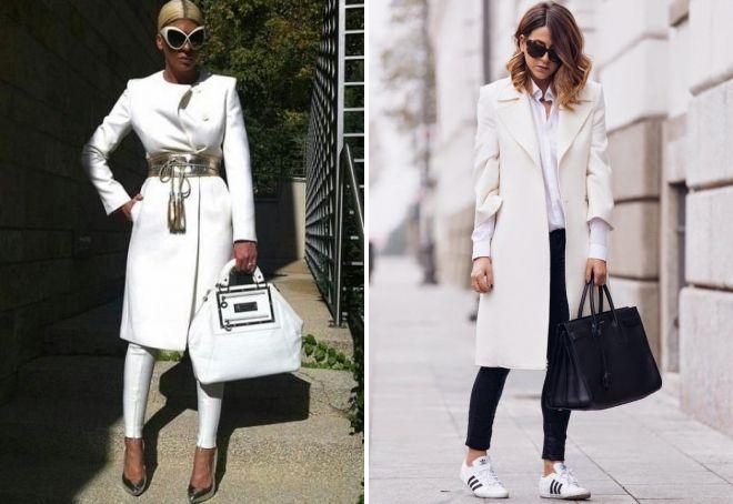 с чем носить белое пальто до колена