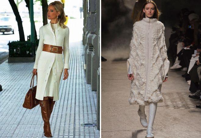 белое вязаное пальто
