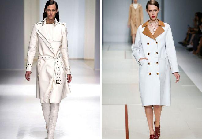 кожаное белое пальто