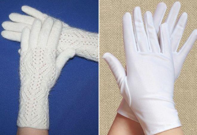 женски бели ръкавици