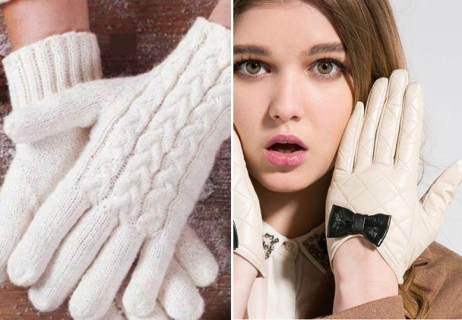 bílé pletené a kožené rukavice