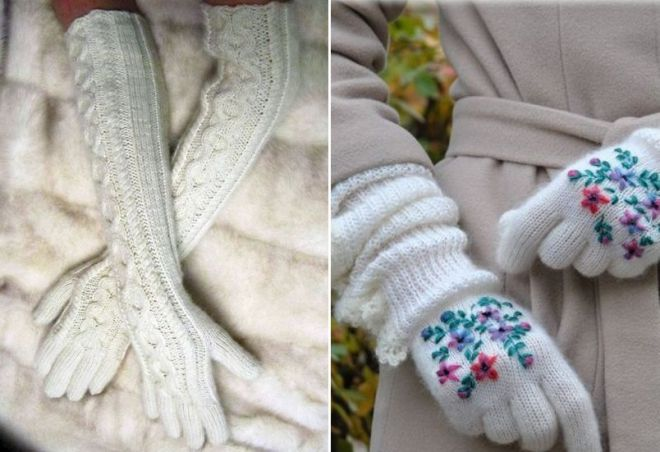 białe zimowe rękawiczki