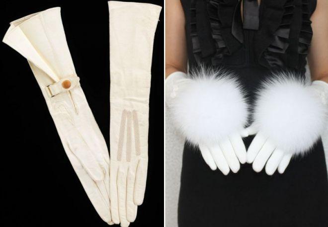 бели ръкавици на роклята