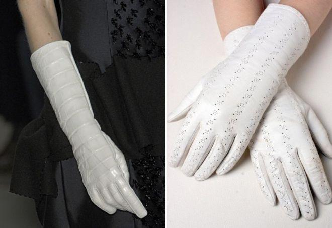 bílé vysoké a krátké rukavice