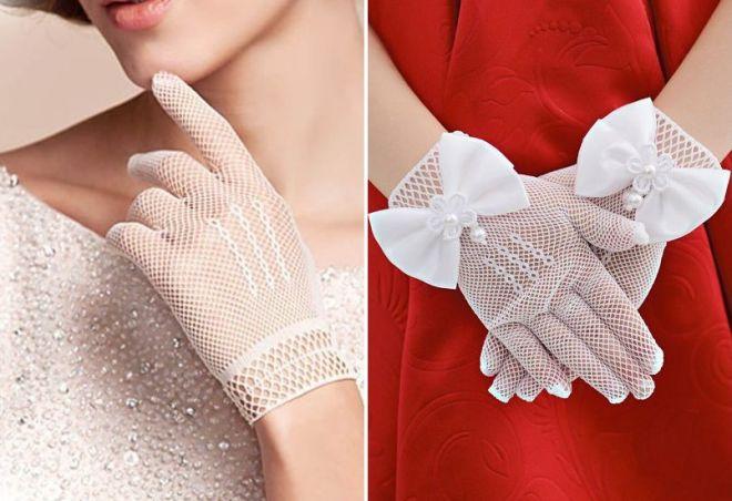 ażurowe białe rękawiczki