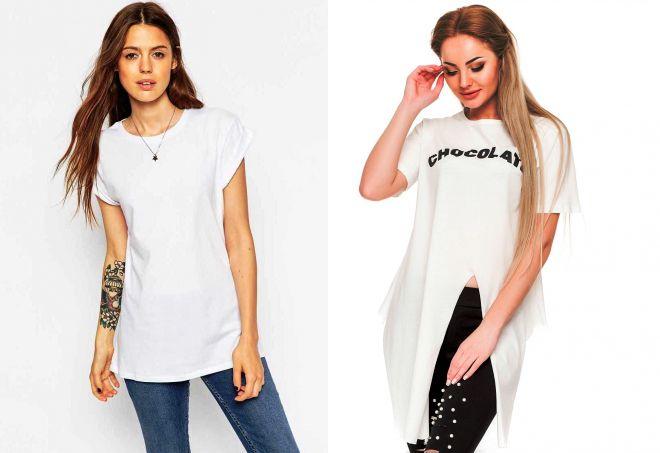 длинная белая футболка