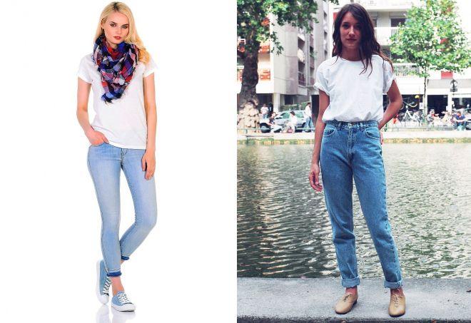 джинсы с белой футболкой