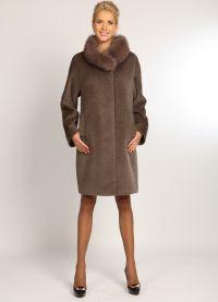 zimowy kaszmirowy płaszcz z futrzanym kołnierzem1