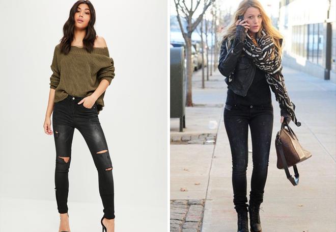 черные потертые джинсы