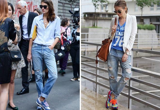 потертые джинсы с кроссовками