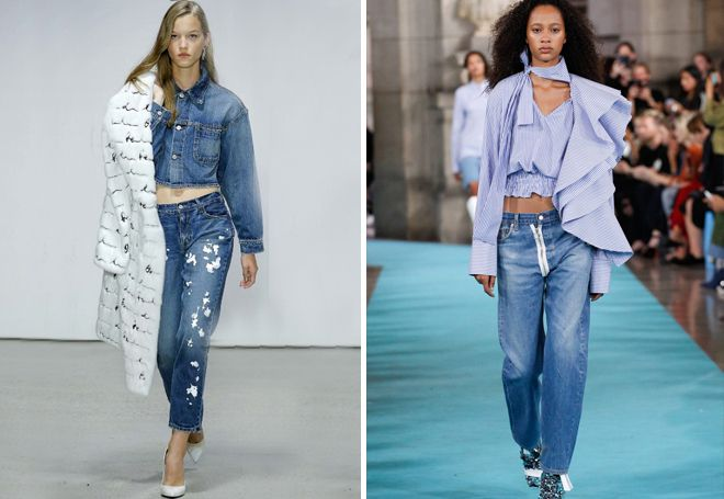 модные потертые джинсы
