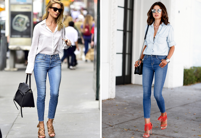 джинсы скинни с потертостями