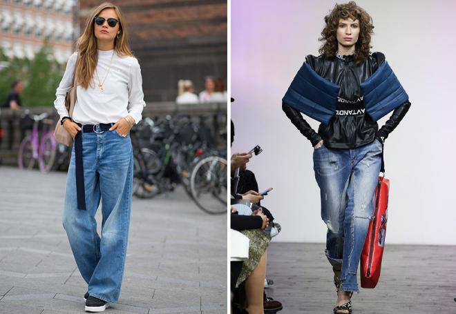 широкие джинсы с потертостями